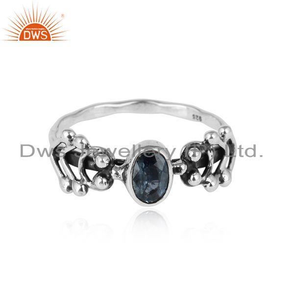 London Blue Topaz Gemstone Oxidized Sterling Silver Ring Jewelry