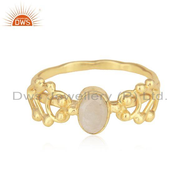 Natural rainbow moonstone dainty ring in yellow gold on silver 925