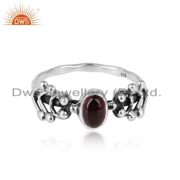 Pink Tourmaline Gemstone Indian Designer oxidized 925 Silver Rings