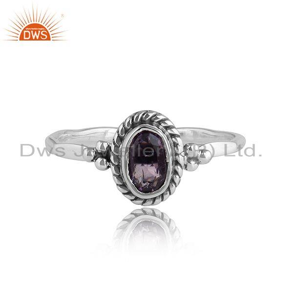 Black Oxidized Sterling Silver Designer Amethyst Rings Jewelry