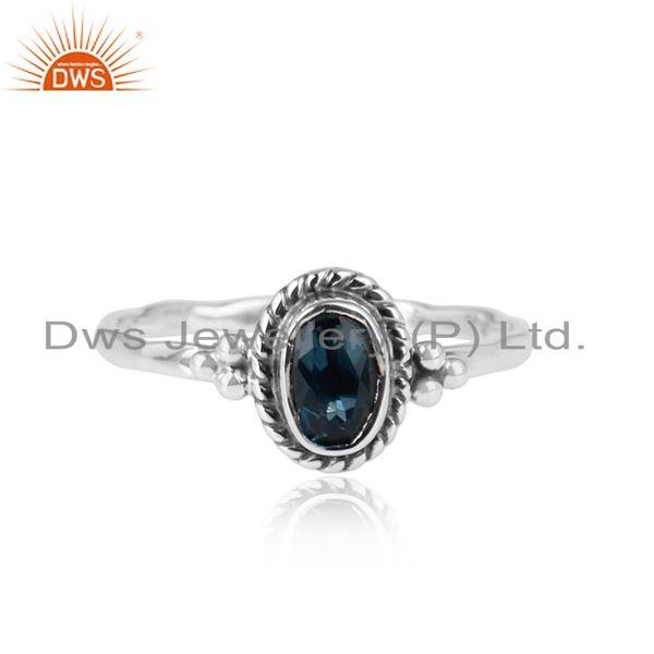 Designer oxidized sterling silver blue topaz gemstone ring jewelry