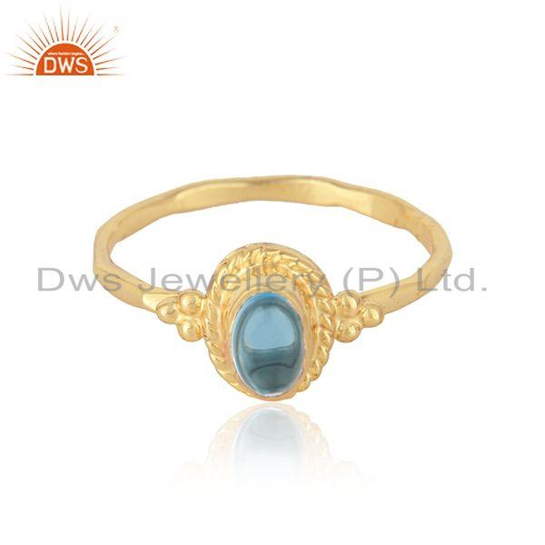 Textured Ring in Yellow Gold on Silver 925 and Natural Blue Topaz