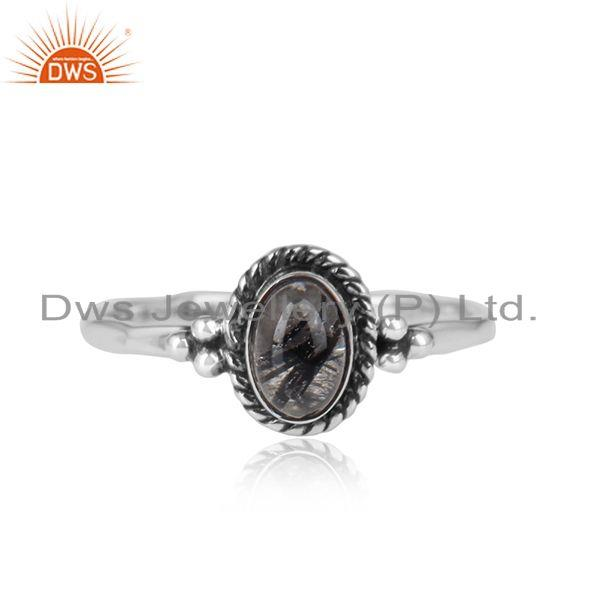 Black rutile gemstone 925 sterling silver oxidized ring jewelry