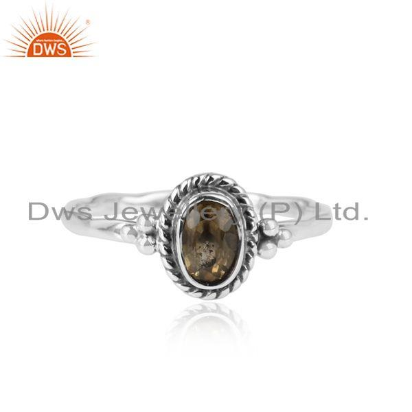 Natural Citrine Gemstone Antique Oxidized 925 Silver Girls Rings