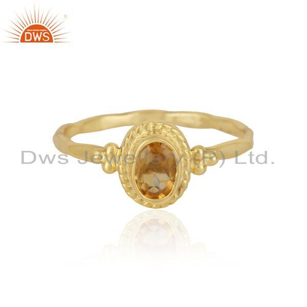 Handcrafted dainty ring in yellow gold on silver 925 and citrine