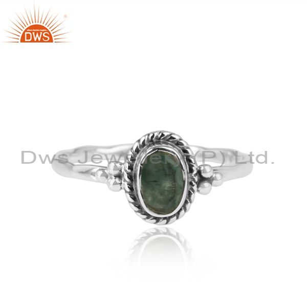 Emerald Gemstone Designer Oxidized 925 Silver Handmade Ring Jewelry