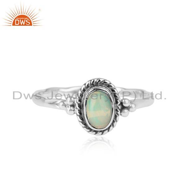 Antique Oxidized Designer silver Ethiopian Opal Gemstone Rings