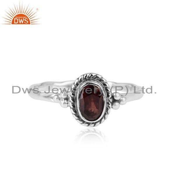 Natural Garnet Gemstone New Sterling Silver Handmade Oxidized Ring