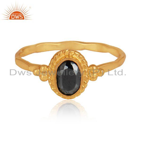 Hematite gemstone designer gold plated 925 silver womens rings