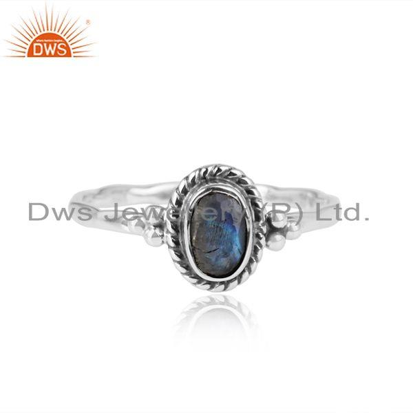 Labradorite Gemstone 925 Sterling Silver Oxidized Womens Rings