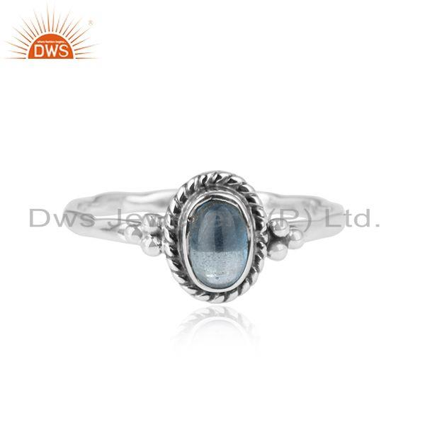 London Topaz Gemstone Designer Sterling Silver Oxidized Rings