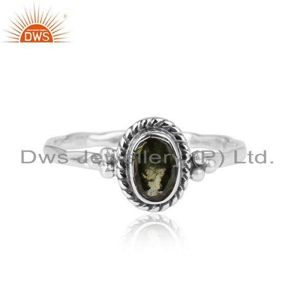 Peridot gemstone designer oxidized 925 sterling silver ring jewelry