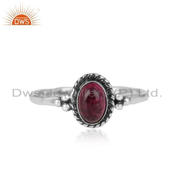 Pink tourmaline gemstone oxidized sterling silver womens rings
