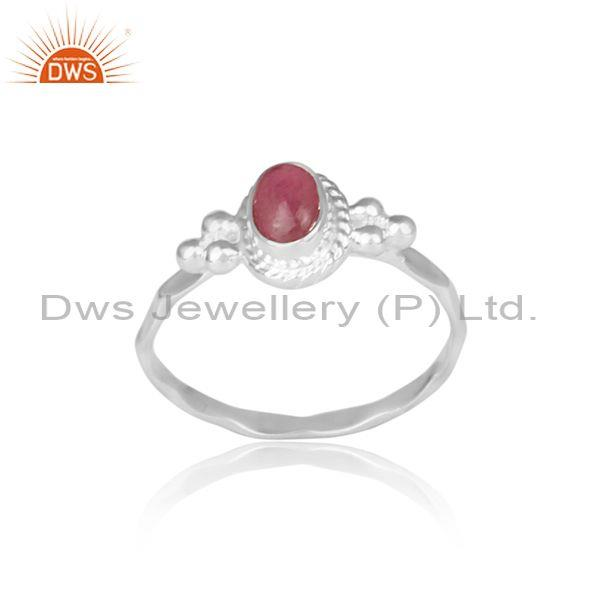 Oval Cut Pink Tourmaline Set Fine Silver Traditional Ring
