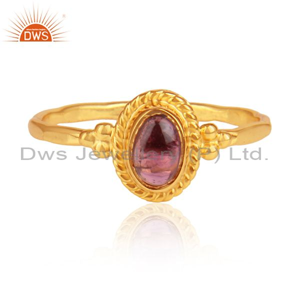 Pink Tourmaline Set Gold On Silver Hand Hammered Ethnic Ring