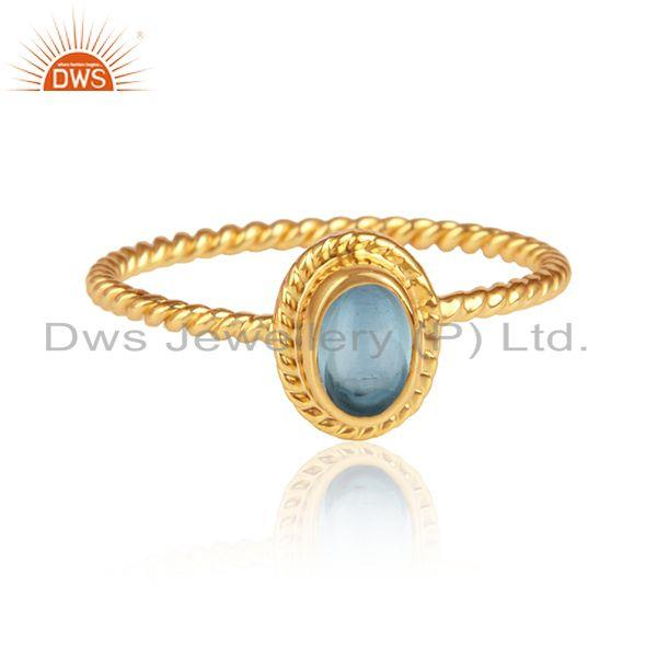 Oval Blue Topaz Gemstone Designer Gold Plated Silver Ring Jewelry
