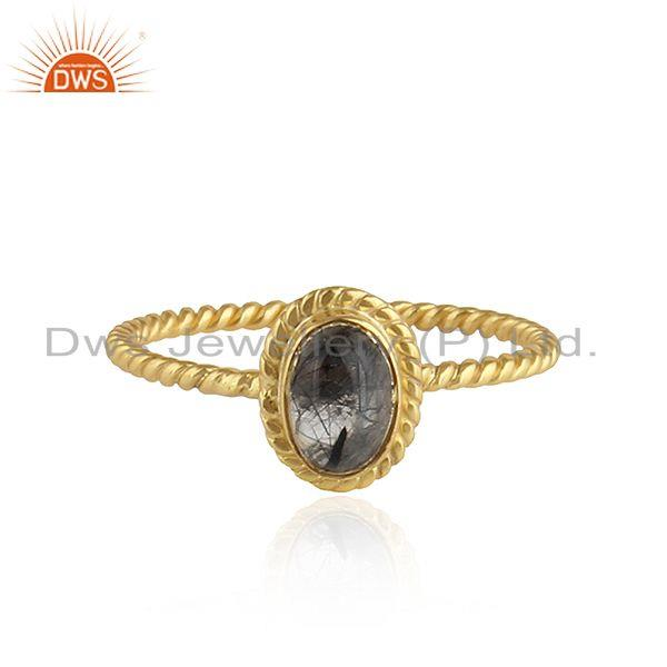 Black Rutile Gemstone Twisted Silver Gold Plated Stackable Rings