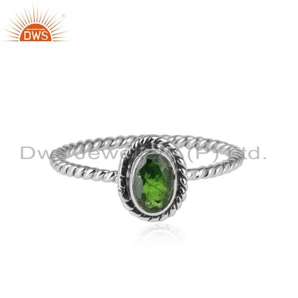 Chrome diopside gemstone designer oxidized antique silver rings