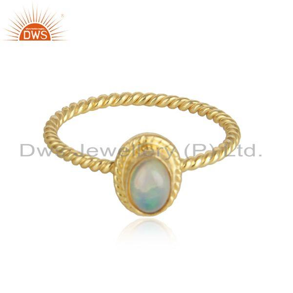 Twisted Designer Gold Plated Silver Ethiopian Opal Gemstone Rings