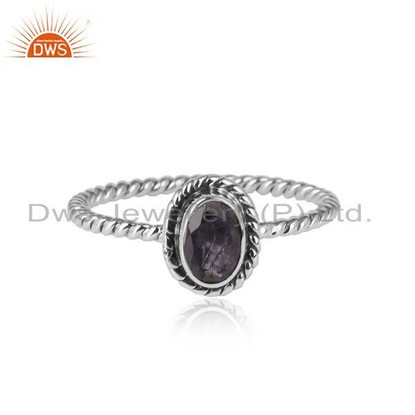 Iolite gemstone oxidized 925 silver handmade ring jewelr for girls