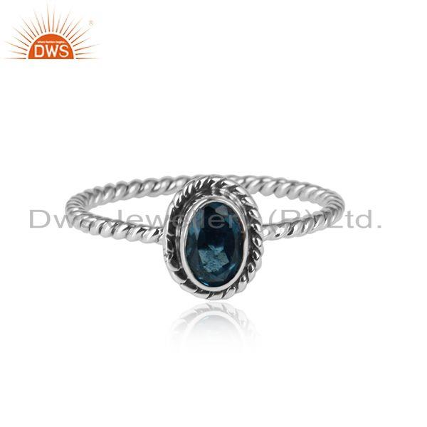 London Blue Topaz Gemstone Oxidized Sterling Silver Womens Rings