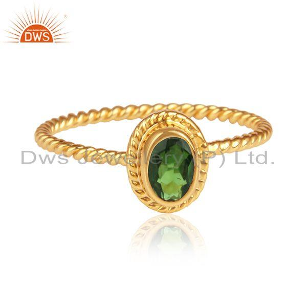 Natural peridot gemstone handmade 18k gold over 925 silver rings
