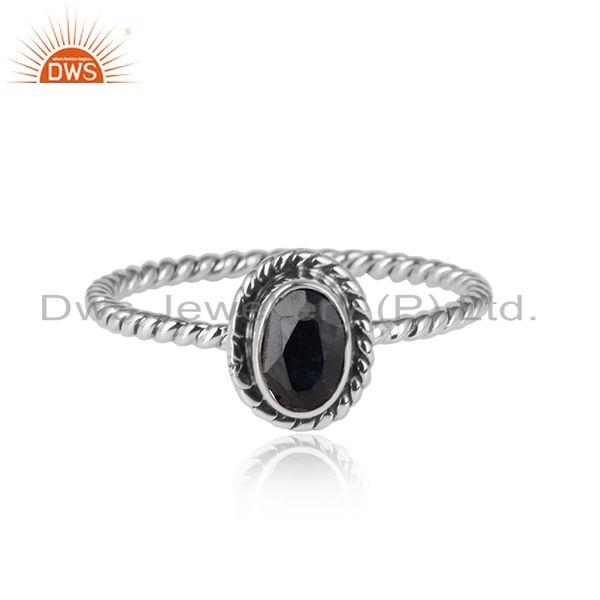 Antique Oxidized 925 Silver Blue Sapphire Gemstone Ring Jewelry