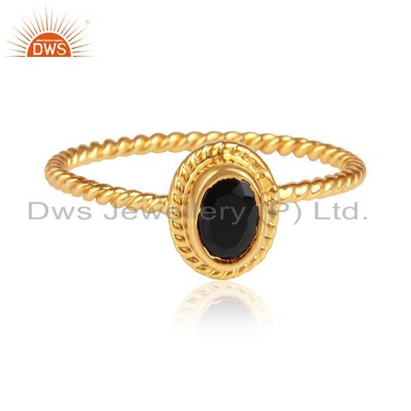 Black onyx gemstone twisted design 925 silver womens ring jewelry