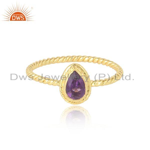 Pear Shape Amethyst Gemstone Twisted Design Gold Plated Silver Ring
