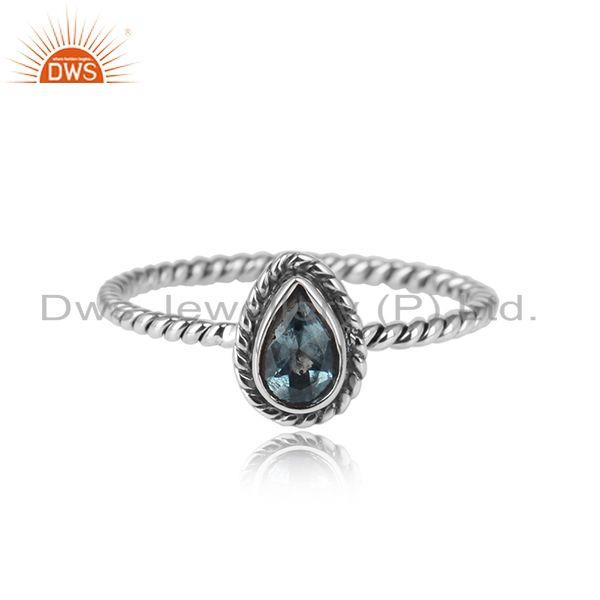 Pear shape oxidized 925 sterling silver blue topaz gemstone rings