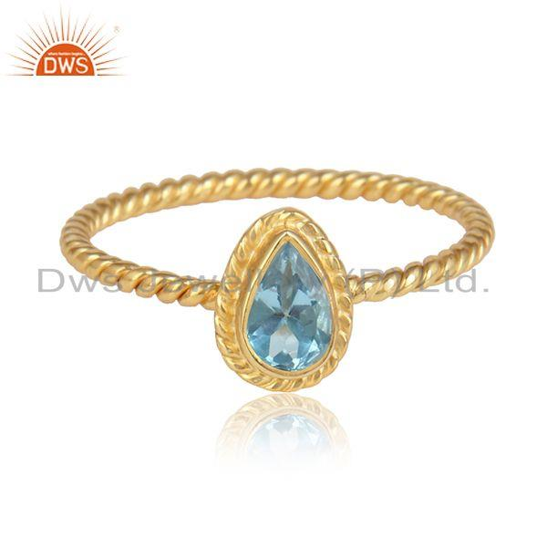 Pear shape blue topaz gemstone gold plated designer silver rings