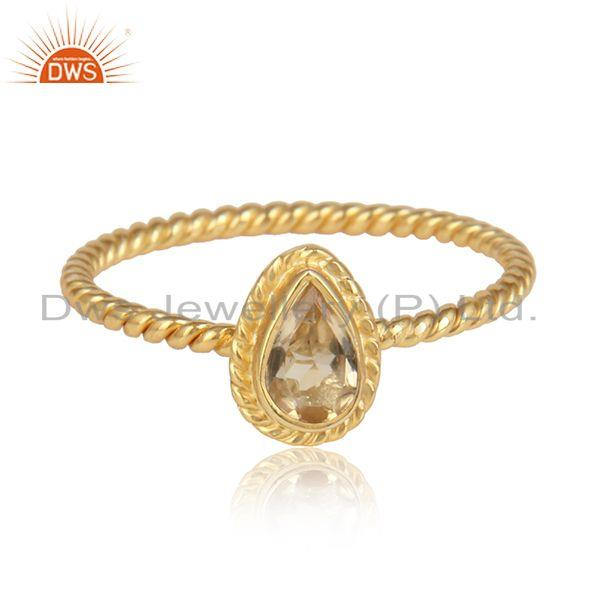 Pear citrine gemstone 925 silver handmade gold plated silver ring