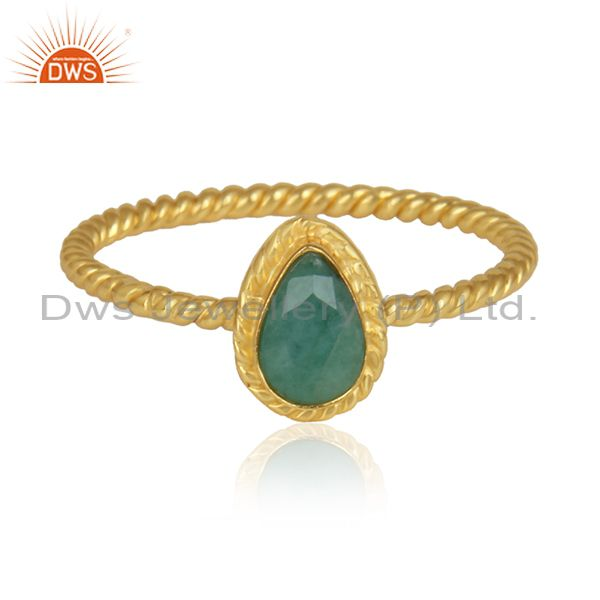 Pear Emerald Gemstone Designer Gold Plated 925 Silver Rings