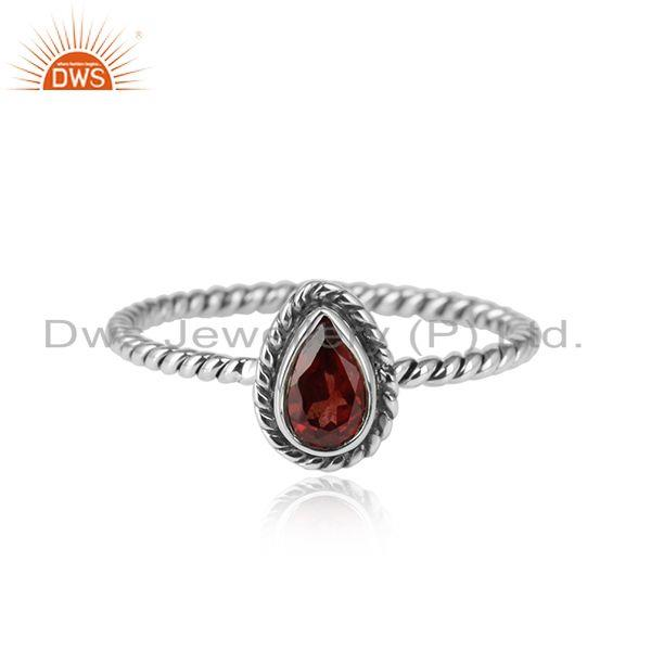 Natural garnet gemstone twisted 925 silver oxidized rings jewelry