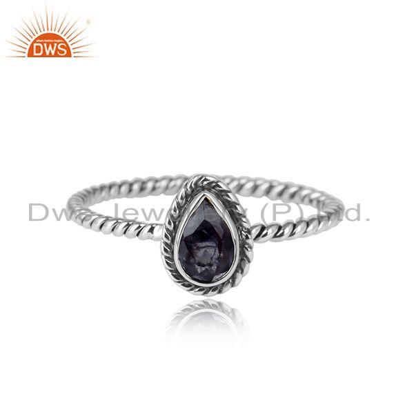 Pear shape iolite gemstone womens 925 silver oxidized rings jewelry