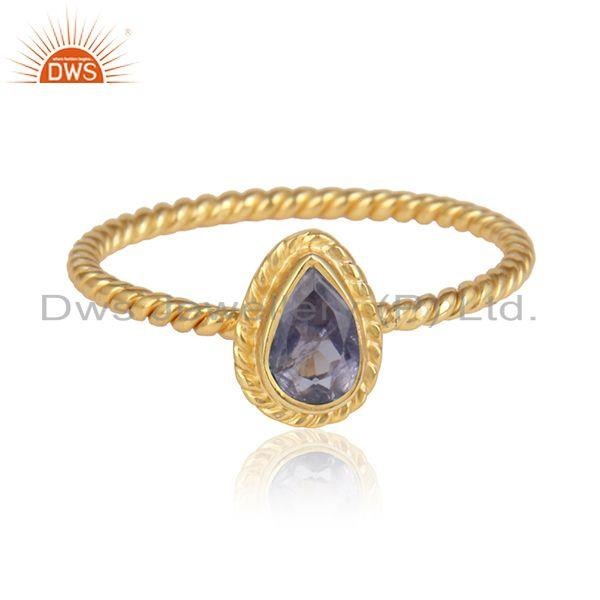 Iolite Gemstone Designer Yellow Gold Plated 925 Silver Rings Jewelry