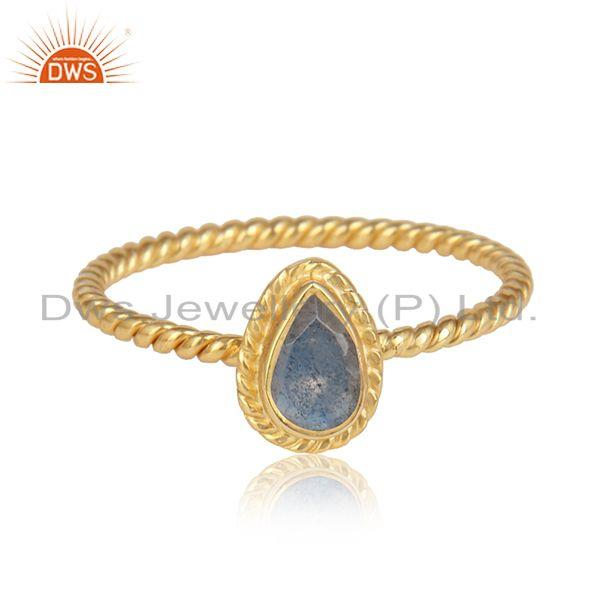 Labradorite gemstone 18k gold over designer silver rings jewelry