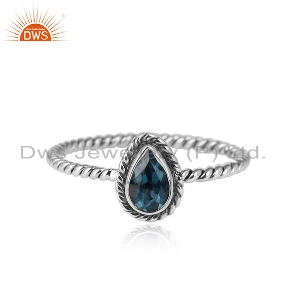 London Blue Topaz Gemstone Handmade 925 Silver Oxidized Rings