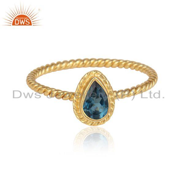 London Blue Topaz Gemstone Designer Gold Plated Silver Womens Rings