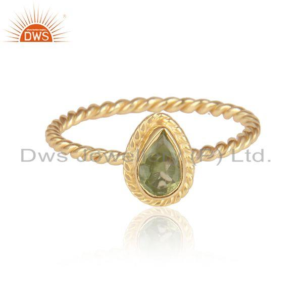 Peridot Gemstone Designer Silver Gold Plated Handmade Rings Jewelry