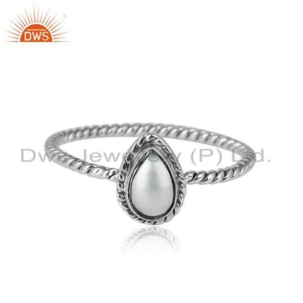 Pearl shape natural pearl gemstone oxidized sterling silver rings