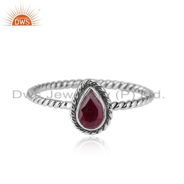 Ruby gemstone pear shape oxidized 925 silver designer rings