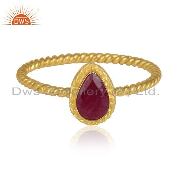 Natural Ruby Gemstone Designer Gold Plated Silver Ring Jewelry