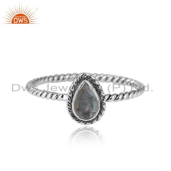 Oxidized 925 streling silver pearl shape rainbow moonstone rings