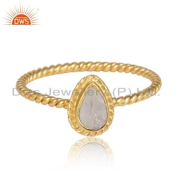 Rainbow moonstone gemstone silver gold over designer ring jewelry
