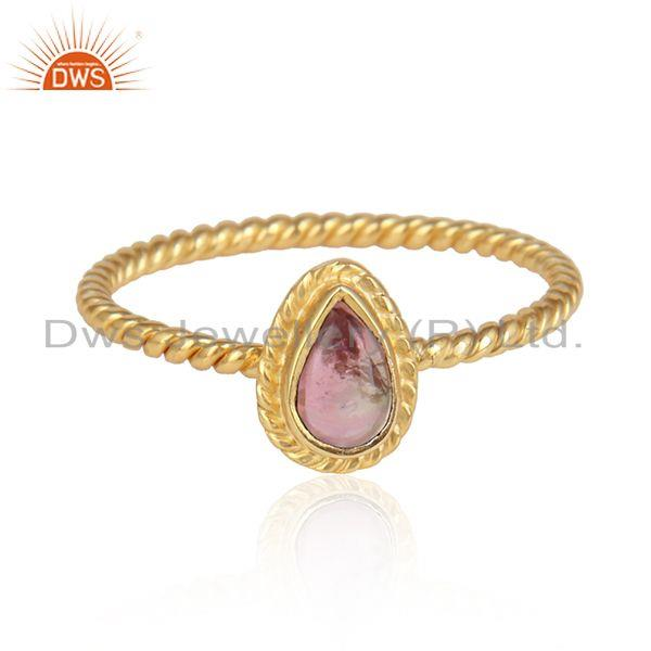 Pink tourmaline gemstone handmade gold on 925 silver ring jewelry