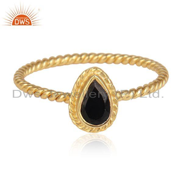 Handmade gold plated 925 silver twisted black onyx gemstone rings