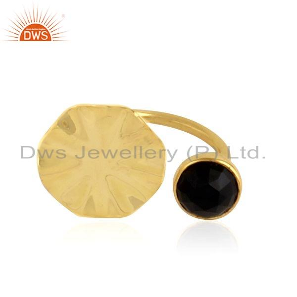 Wavy Disc Design Gold Plated Silver Black Onyx Gemstone Ring Jewelry