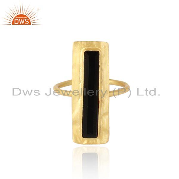 Glazed Brik Gold Plated Silver Natural Black Onyx Gemstone Rings