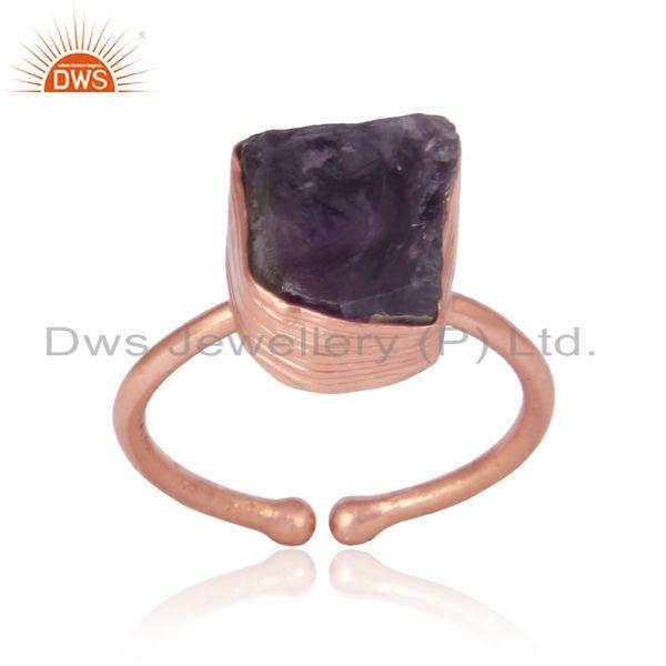 Handcrafted Bold Organic Amethyst Ring in Yellow Gold on Silver